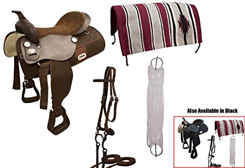 Tahoe Tack Easy Ride Pleasure Trail Western Saddle Set (6 Count), Black, 16