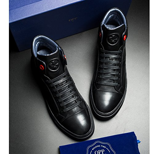 Leather Men's High Shoes Decoration Zipper Black OPP Genuine top Sneaker Lace up 6Swwpaq