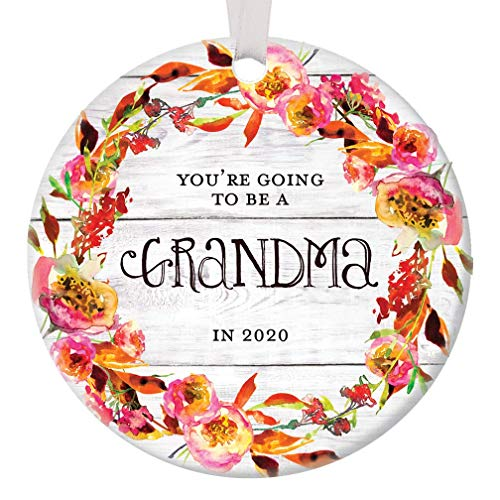 Youre Going to Be A Grandma in 2020 Christmas Ornament Surprise Pregnancy Announcement Grandmother Ceramic Keepsake Baby Due 2020 Were Expecting! 3 Flat Porcelain with White Ribbon & Free Gift Box