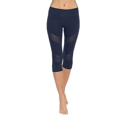 ONGASOFT Leggings Capri para Yoga, Pantalones de Malla, para ...