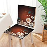 Antique Wooden Fold Up Chairs Mikihome Chair Cushion Antique Old Planks American Style Western Rustic Wooden and White Daisies, Grass and Butterflies 2 Piece Set Office Chair Car Seat Cushion Mat:W17 x H17/Backrest:W17 x H36