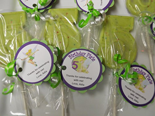 12 Disney Tinkerbell Gourmet Chocolate Lollipops 5th Birthday Party Favor Includes Custom (Custom Chocolate Lollipops)