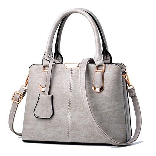 Nueva moda de mediana edad señoras bolso bolsa bandolera, gris oscuro Gris claro