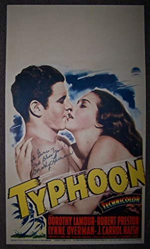 REDUCED 55 TYPHOON '40 MIDGET WINDOW CARD ~ AUTOGRAPHED LAMOUR ~ GORGEOUS ART