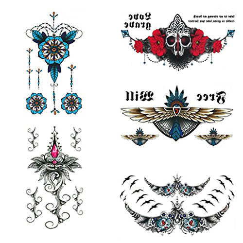 Sternum Tattoos Chest Temporary Sexy Sticker Waterproof Fit for Beach Parties Concert etc, 14x24cm Large 5 sheet (1) ()