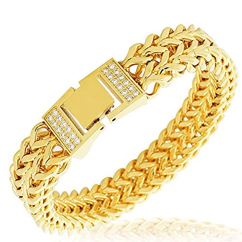 My Daily Styles Stainless Steel Yellow Gold-Tone White CZ Double Wheat Chain Classic Men's ()