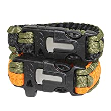 Dianoo adjustable Premium Bracelet with Fire Starter Military Survival Parachute Cord Fits ¨C Unisex - Set of 2PCS, the colors will be sent at random
