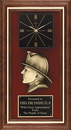 Express Medals Customized Fireman Firefighter Award Clock Trophy -