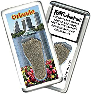 """product image for Orlando """"FootWhere"""" Fridge Magnet (OD201 - Fountain). Authentic destination souvenir acknowledging where you've set foot. Genuine soil of featured location encased inside foot cavity. Made in USA"""