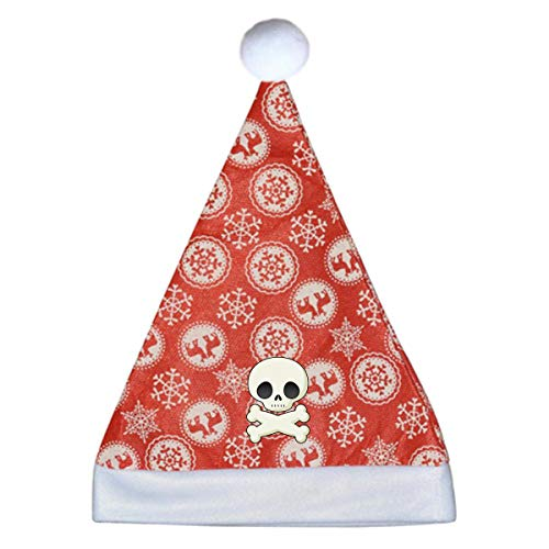 YETTA YANG Halloween Skeleton Clipart Cute Hohoho Decoration Signs Decor Red Snowflake Santa Hat Party Gift Christmas Xmas Cap Vacation Funny Beanie Set Matching Adult