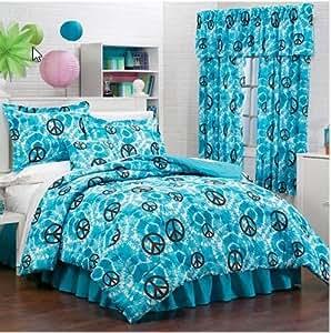 Amazon.com: Blue Tie Dye Peace Signs Girls Twin Comforter ...