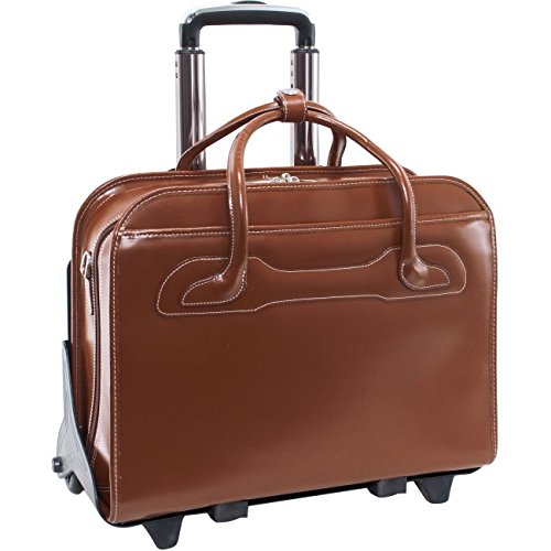 Detachable - Wheeled Women's Laptop Briefcase, Leather, Mid-Size, Brown - Willowbrook | McKlein - 94984