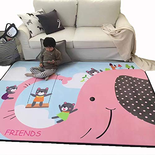- MEMORECOOL LIGHT UP YOUR HOME Large Plush Rug for Playroom Classroom Nursery - Baby Crawling Play Mat Kids Game Carpets Bedroom Decor Rugs Elephant Rug for Activity Center