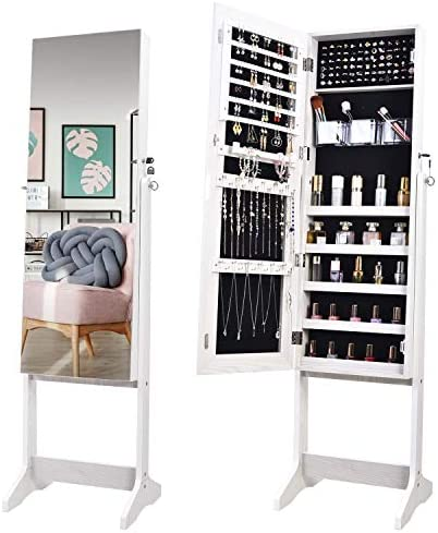 OUTDOOR DOIT Jewelry Organizer Jewelry Cabinet Jewelry armoire Standing Jewelry Box with Full Body Mirror and Large Storage Lockable Wooden Cabinet (White)