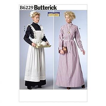 Butterick Schnittmuster 6229 Historisches Kleid, Schürze und ...