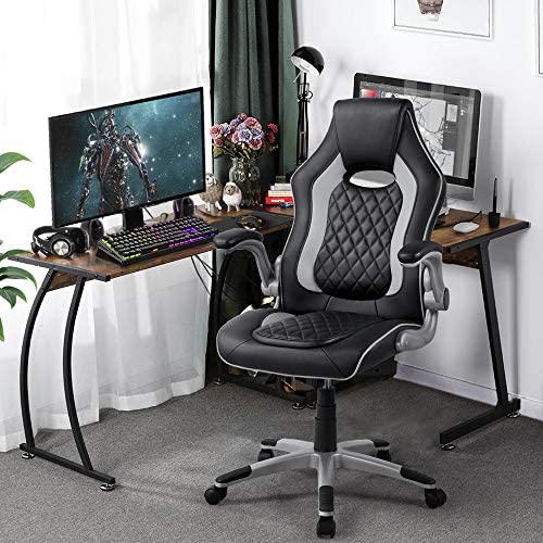YAHEETECH Computer Gaming Chair High Back Ergonomic Video Game Chairs Executive Swivel Office Chair Leather Grey