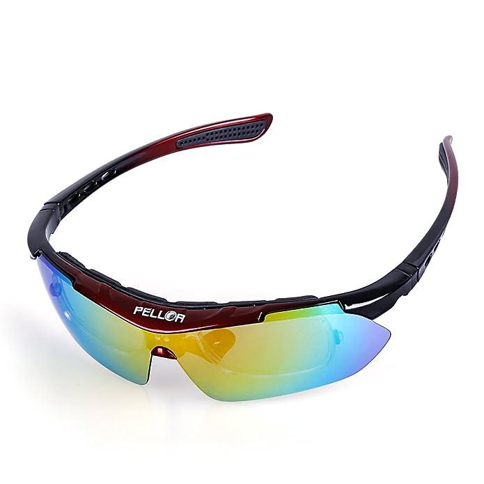45 opinioni per Pellor Occhiali da Sole Uomo, occhiali sportivi, 5 paio di Lenti intercambiabili