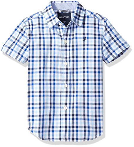 Multi Check Shirt - Nautica Little Boys' Short Sleeve Multi Check Shirt with Stripe Trim, Cobalt, Medium (5/6)