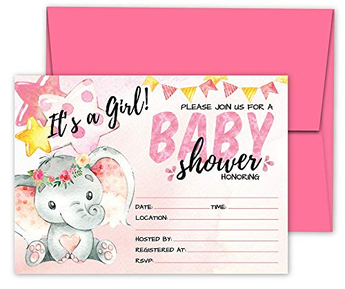 Deluxe Pink Elephant Baby Shower Invitations, Jungle, Tropical Safari Animals, Its A Girl Party Invites, 20 Large Double Sided 5 x 7