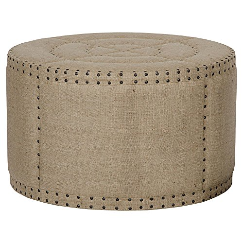 Adalene French Country Burlap Rustic Round Coffee Table - Coffee Provincial French Table