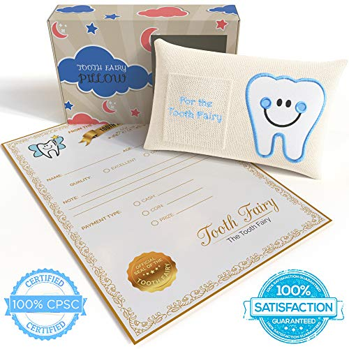 Tooth Fairy Pillow Kit| 5-piece Gift Set for Girl or Boy Includes Tooth Pillow with Pocket, Tooth Shaped Coin, Tooth Bag for Parents to Save Teeth, Official Letter Note, and Keepsake Box for Stowage ()