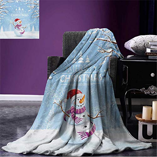 Anniutwo Christmas Printed Blanket Cute Snowman in a Snowy Winter Day with Xmas Hat Frosty Noel Kids Nursery Theme Soft Throw White Blue W62 x L60 inch