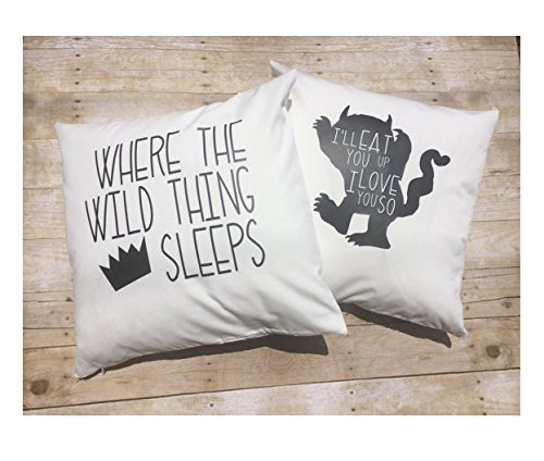 Nursery Bedding Set, Custom 20x20, Set 2 of Wild Thing pillow covers , baby boy bedding , Where the Wild things Are , Crown pillow , boy room décor, Halloween Gift