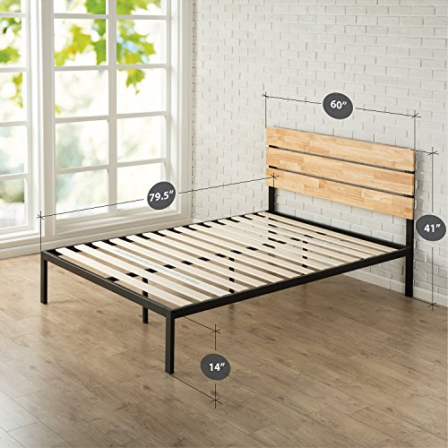 Zinus Sonoma Metal & Wood Platform Bed with Wood Slat Support, Queen - bedroomdesign.us
