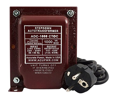 ACUPWR ADC-1000 Step Down Voltage Transformer/Converter for Refrigeration/Wine Coolers/Freezers Ideal for Models, 25 cu ft, 1000 W, 220-240 V to 110-120 V by AcuPwr TM