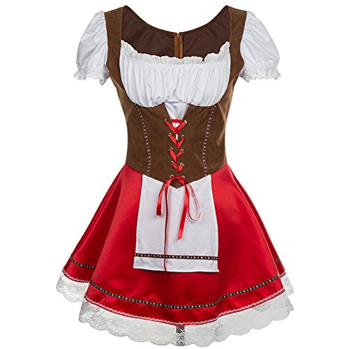 BSLINGERIE Sexy Beer Girl Bavarian Bar Maid Halloween Costume Dress (US 8, Brown - Red) (Cheers And Beers Costume)