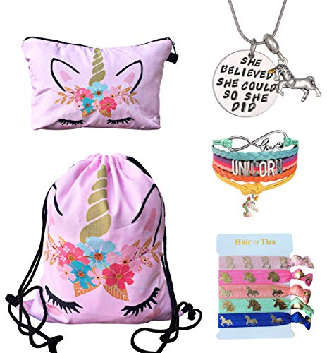 Unicorn Gifts for Girls - Unicorn Drawstring Backpack/Makeup Bag/Bracelet/Inspirational Necklace/Hair Ties (Pink Flower) ()