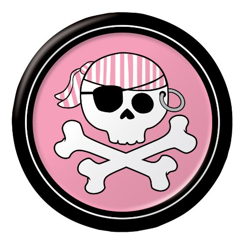 8-Count Round Paper Dessert Plates, Pirate Parrty Girl