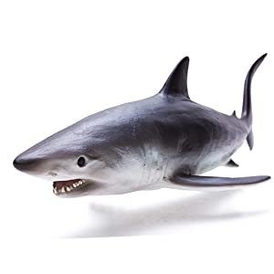RECUR Shortfin Mako Shark Figure Toys, Authentic Shark Figurine Collection-1:15 Scale Realistic Design Ocean Shark Replica, 10.8inch Hand-Painted Skin Texture, Gift for Collectors Boys Kids, Ages 3+