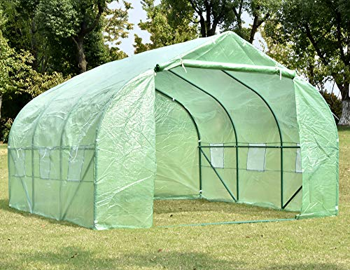 NSdirect Green House(12'x10'x7′),Heavy Duty Walk in Outdoor Plant Gardening Greenhouse Portable Plant Hot House with Double Zipper,Green