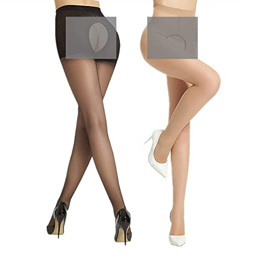 e1717be1b44 Image Unavailable. Image not available for. Color  2 Pack Women Lady Ultra  Thin Transparent Open Crotch Sexy Silk Stocking Pantyhose Socks Hosiery