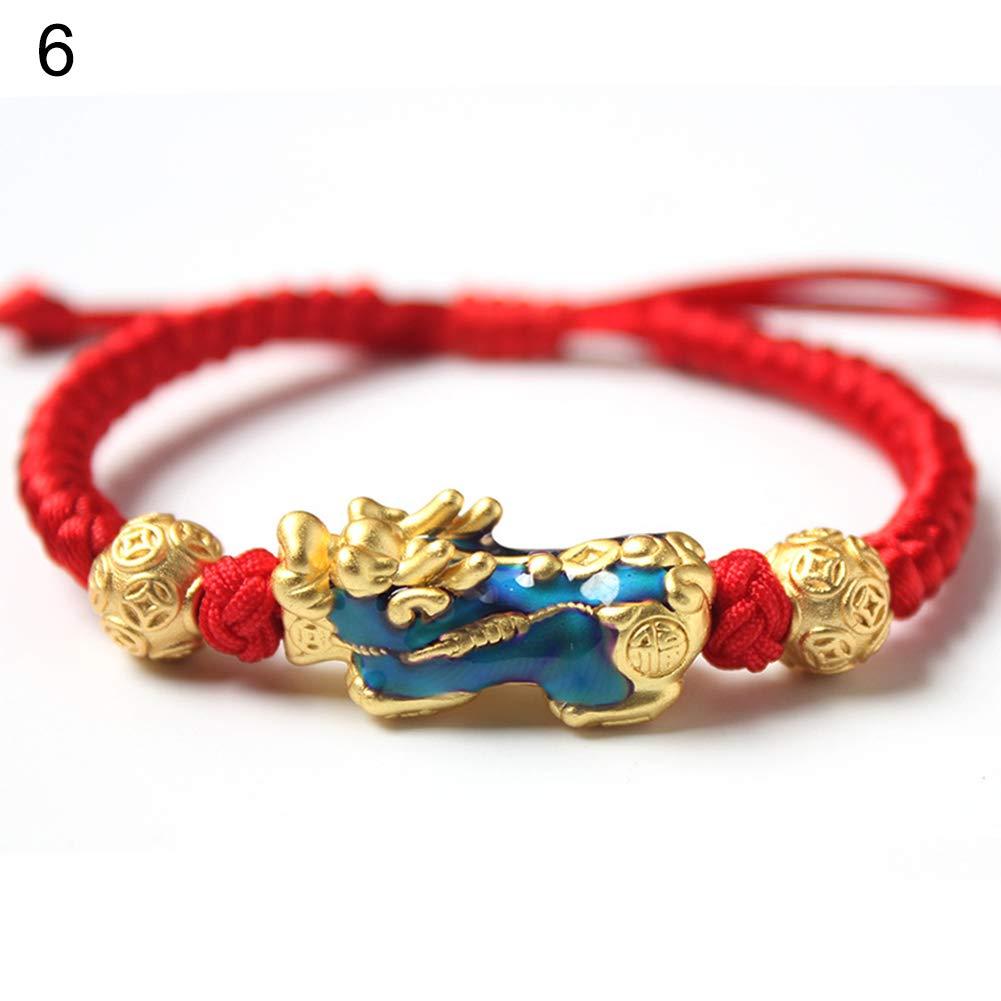 1# Potato001 Chinese Pixiu Faux Gemstone Pendant Unisex Beads Chain Braided Rope Bracelet