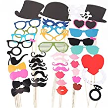 NUOLUX 44pcs Wedding Party Photography Photo Booth Props Set
