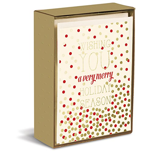 Season Holiday Cards - Graphique Holiday Season Christmas Greeting Cards - 15 Polka-Dotted Holiday Cards Embellished with Gold Foil, Includes Matching Envelopes and Storage Box, 4.75