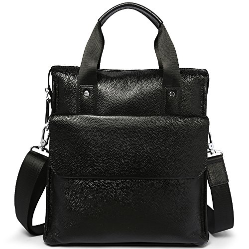 MANTOBRUCE Business Handbag Leather Briefcase for Men Women Simple 11'' Messenger Bag Shoulder Bag by MANTOBRUCE