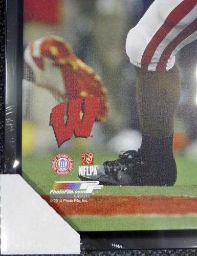 Russell Wilson Autographed Signed Framed 24x30 Canvas Photo Wisconsin Rw 107488 Autographed College Art