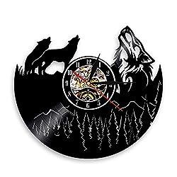 Shinestore Hollow Wolf Vinyl Record Wall Clock Unique Bedroom Kitchen Wall Decor Gift Ideas Men and Women Cool Unique Antique Clock