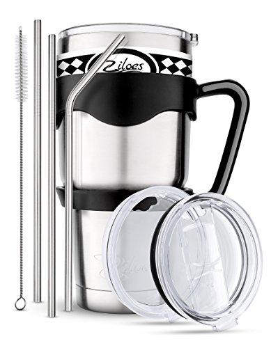 Travel Mug 30 Oz. Stainless Steel Tumbler -Removable Handle | Sliding & Regular Lid, 3 Straws & Cleaning Brush | Double Wall Vacuum Insulated Rambler Suitable For Coffee Hot & Cold Drinks By Ziloes (Best Thermos To Keep Drinks Hot)