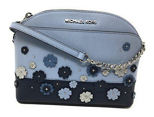 Michael Kors Emmy Floral Saffiano Leather Medium Crossbody Bag Pale Blue/Navy