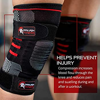 1 Pair Dark Iron Fitness Knee Compression Sleeves for Weightlifting with Padded Support