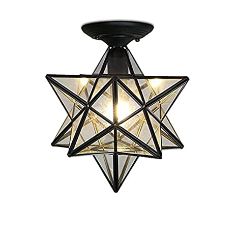 Kirin Moravian Star Light Flush Mount Celing 1 Light Seeded Glass Shade Boho Moroccan Ceiling Lamp For Kitchen Foyer Indoor Restaurant Cafe Loft Bar