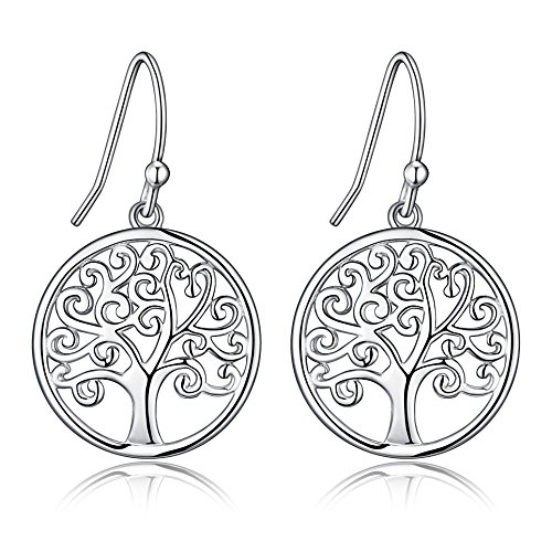 (Sterling Silver Filigree Tree Of Life Design Dangle Drop Earrings)