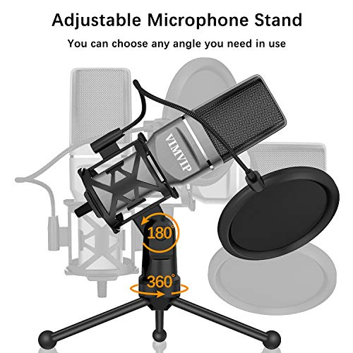 VIMVIP USB Condenser Microphone for Computer, USB PC Microphone & Mic Stand & POP Filter to Gaming, Streaming, Podcasting, Recording
