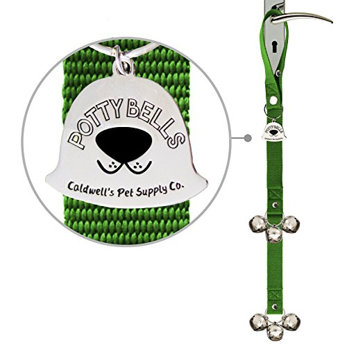 Caldwells Pet Supply Co. Potty Bells Housetraining Dog Doorbells for Dog Training and Housebreaking Your Doggy. 1.4 Inch Dog Bell with Doggie Doorbell and Potty Training for Puppies (Green)