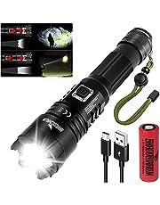 Shadowhawk Cree XHP70.2 Led-zaklamp, extreem helder, 10.000 lumen, USB-oplaadbaar, tactische zaklamp, IP67 waterdicht, 5 lichtmodi, zoombaar, voor kamperen, wandelen, noodgevallen, 21700 batterij