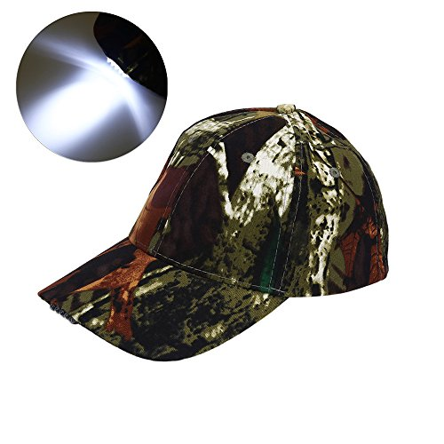 LED Hat Baseball Cap Hat - Ultra Bright Lights Baseball Cap Easily Adjustable Baseball Hat Headlight Flashlight for Hunting Fishing Camping Hiking Jogging Angling Unisex (Camouflage)]()